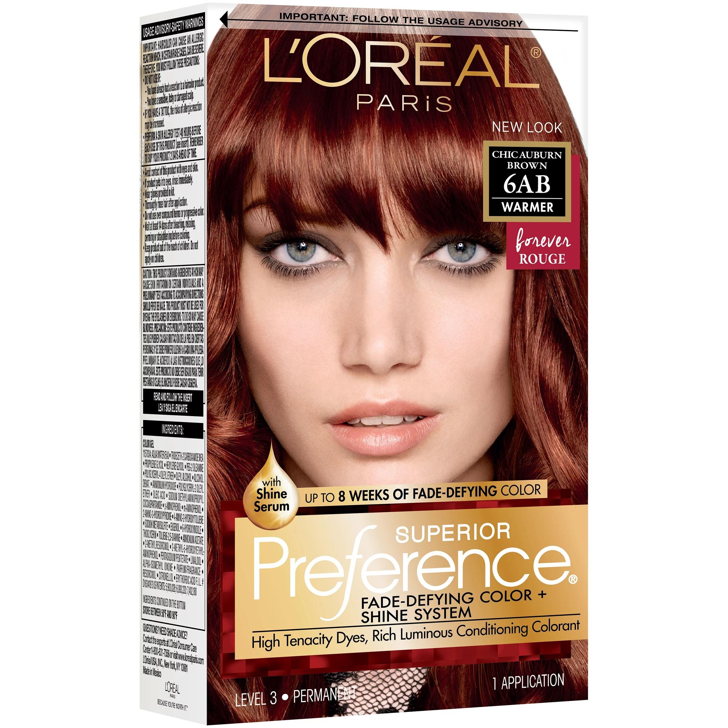 L Oreal Paris Superior Preference Permanent Hair Color 6ab Chic Auburn Brown Shop Hair Color At H E B