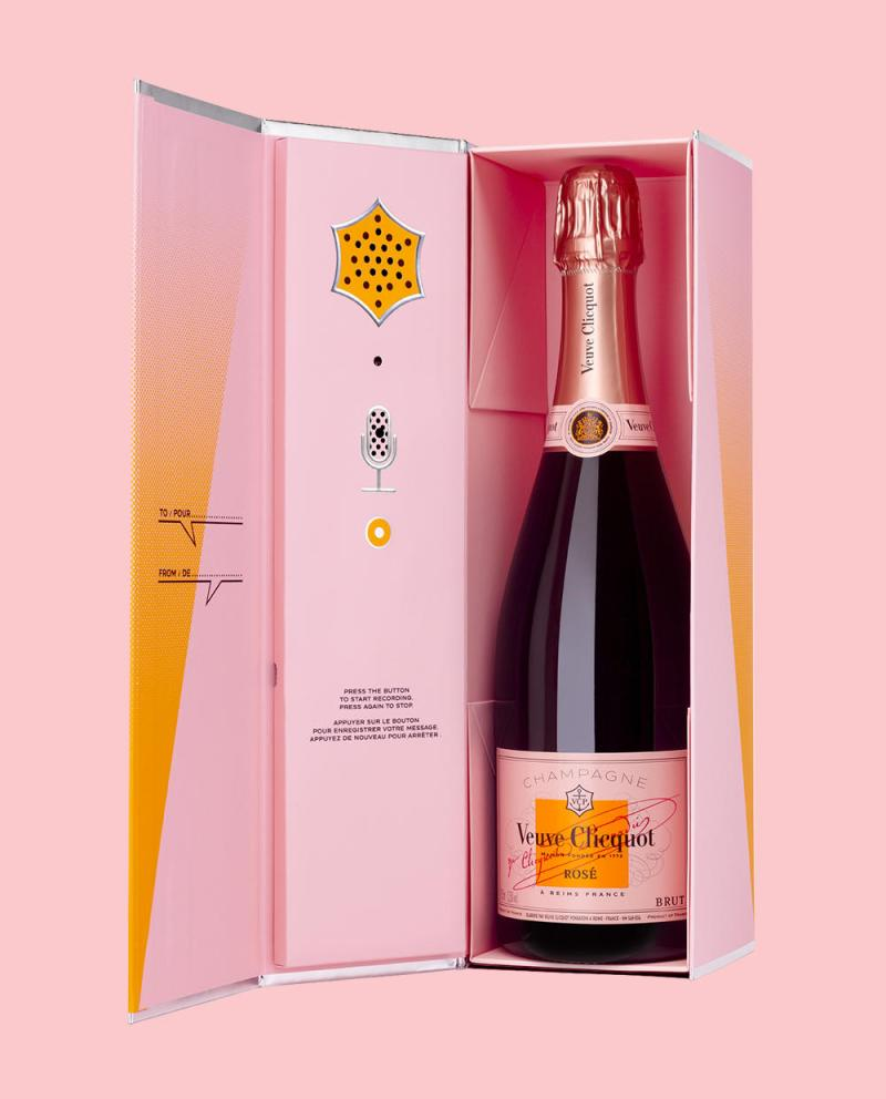 This pink Champagne with a personalized *voice recording option* literally speaks to us