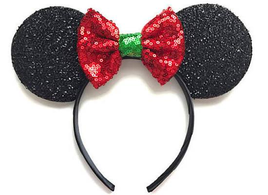 Picture of Christmas Minnie Mouse Ears Black