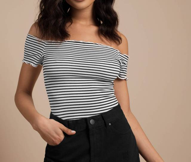 Tobi Amy White Multi Off Shoulder Crop Tee