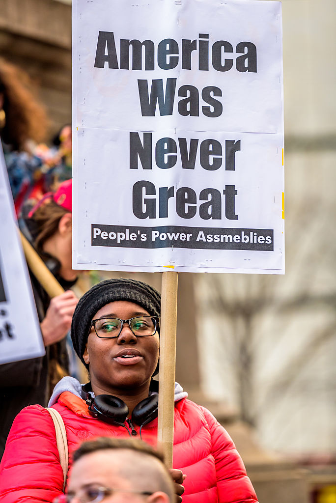 Woman at Peoples Power Assemblies against white supremacy and Trump administration
