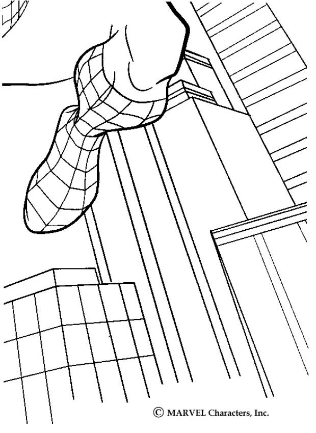 Spiderman Jumping Across Buildings Coloring Pages