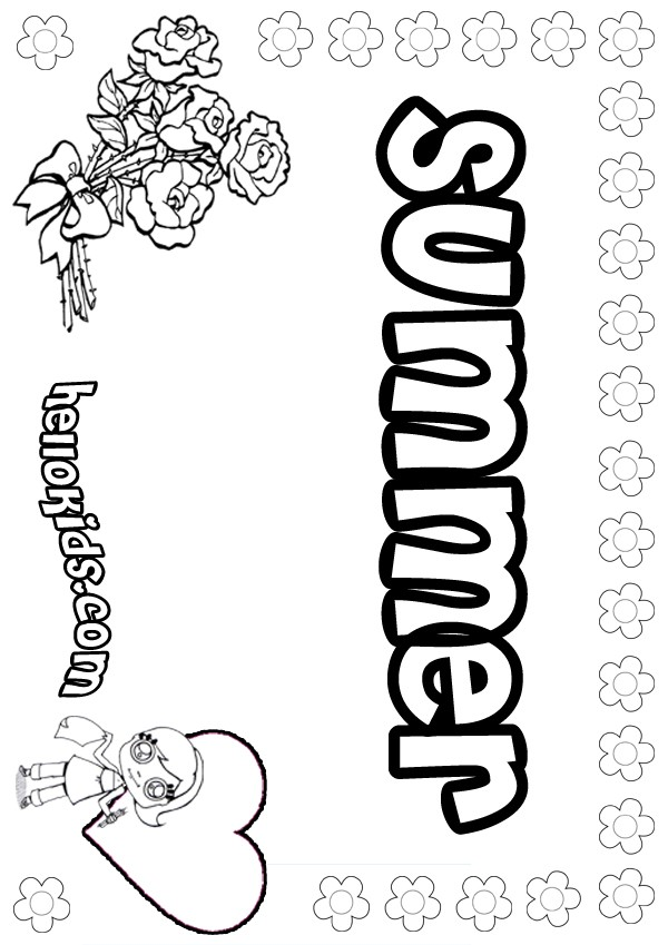 girls name coloring pages summer girly name to color