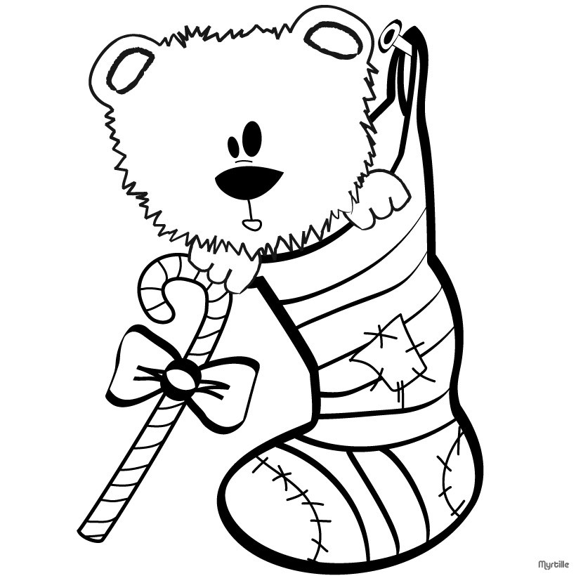 christmas stockings coloring pages teddy bear and fireplace stocking