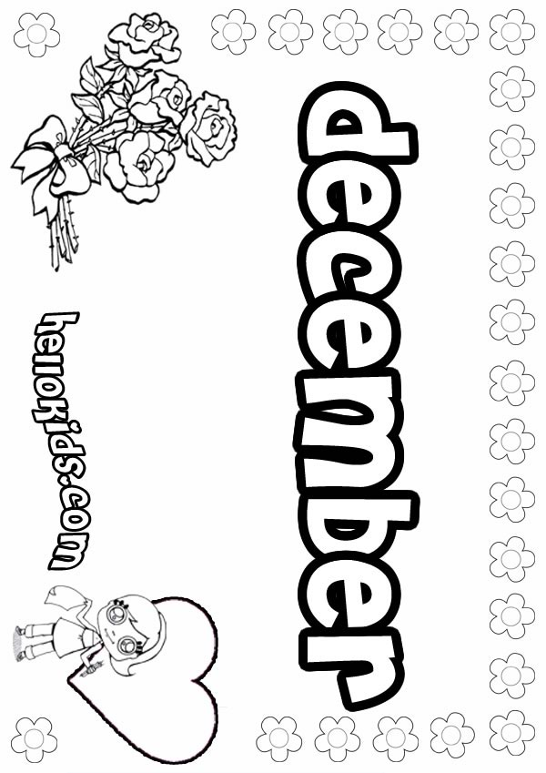 girls name coloring pages december girly name to color