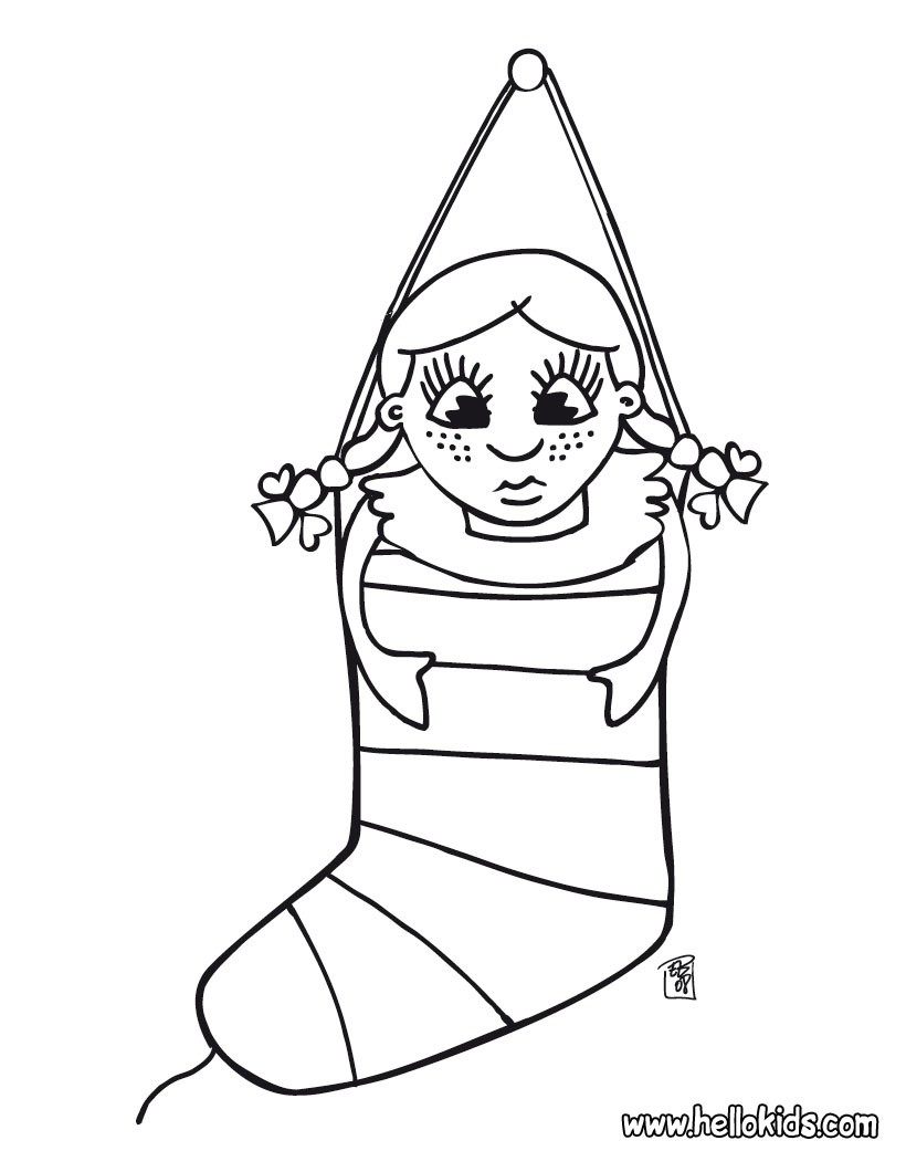christmas stockings coloring pages stocking and teddy bear