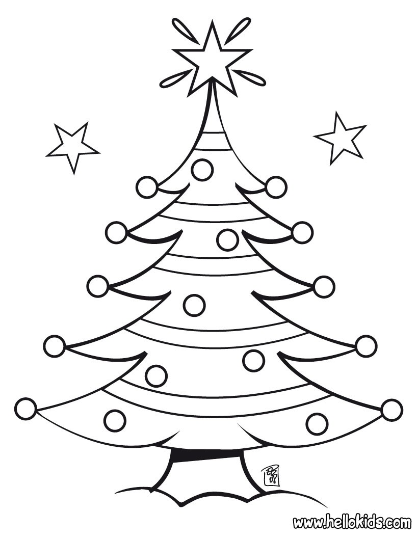 christmas tree coloring pages decorated christmas tree