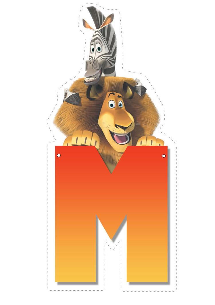 madagascar 2 of alphabet lion and zebra letter m