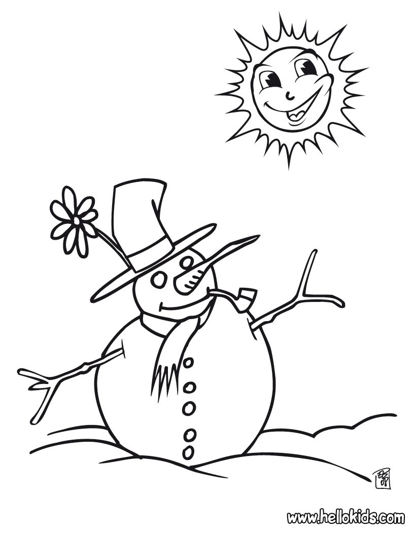 snowman coloring pages christmas snowman