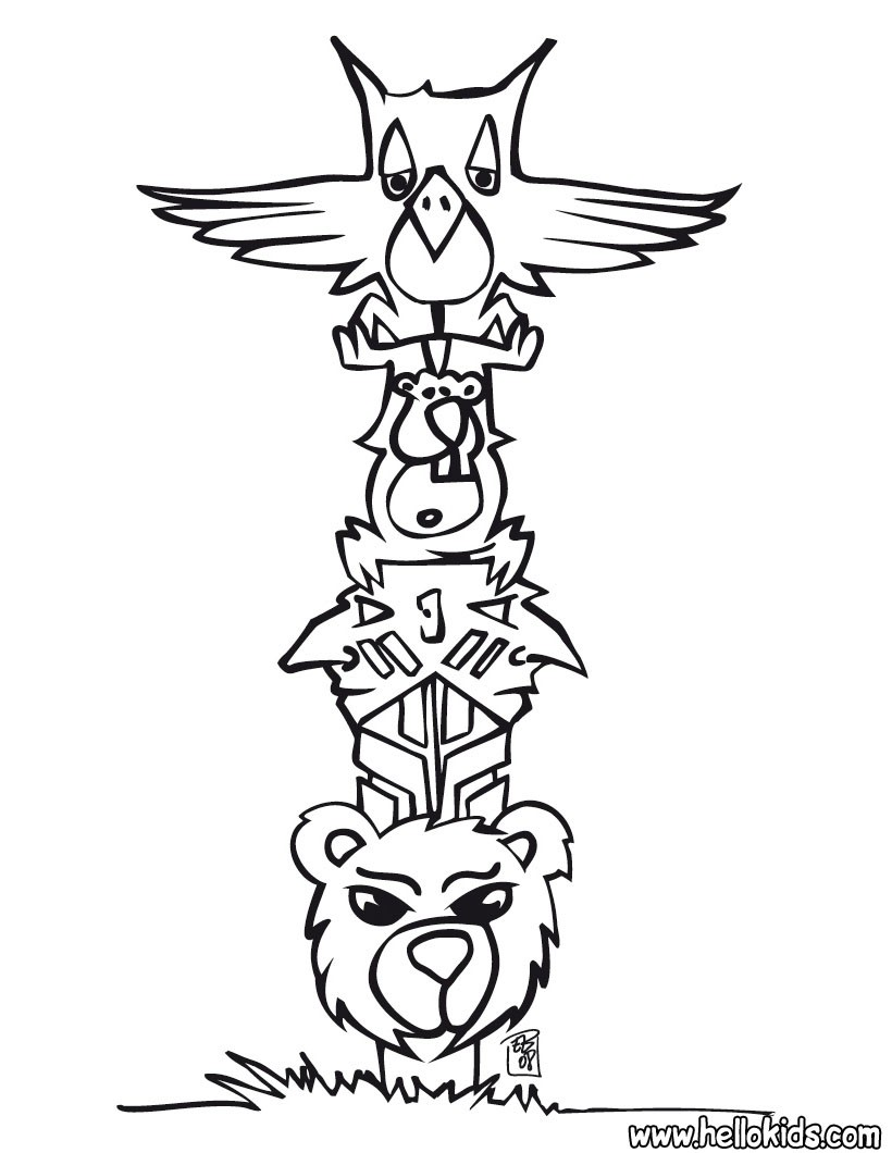 indian coloring pages indian totem