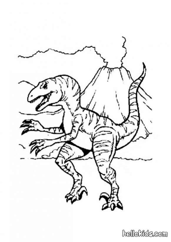 dinosaur coloring pages allosaurus and volcano