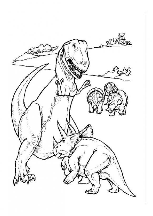 Dinosaurs Fighting Coloring Pages | 822x581