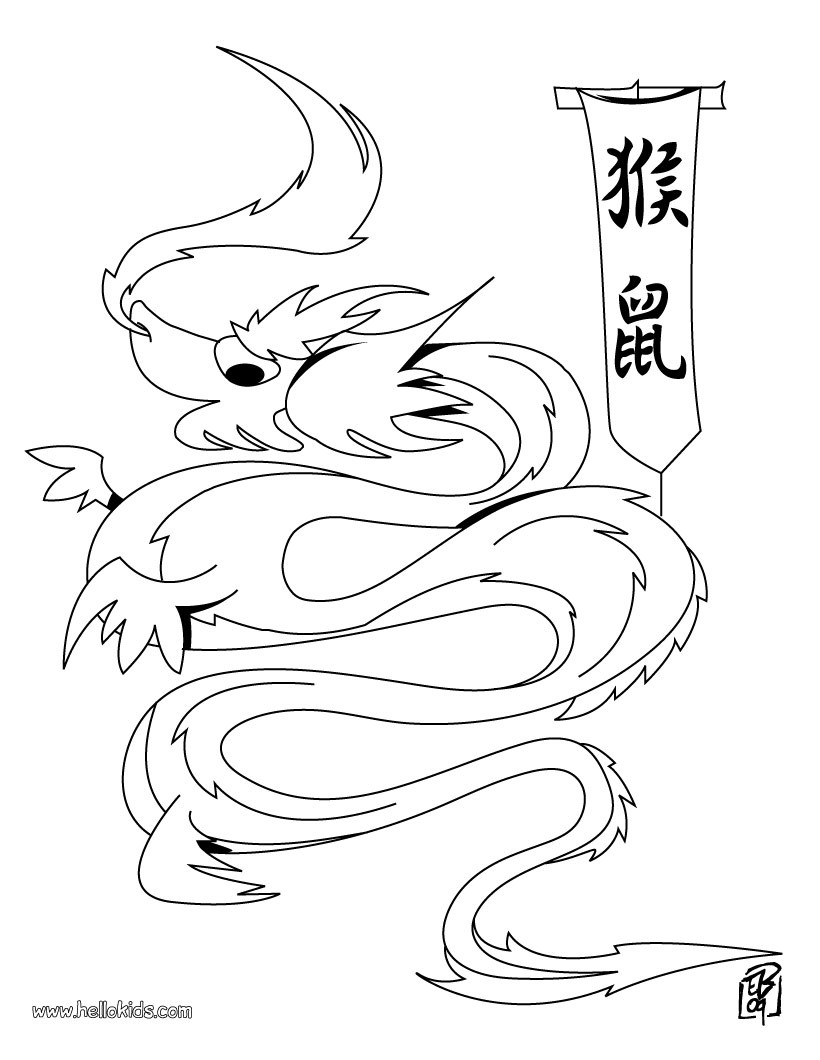 chinese new year coloring pages dragon with a flag