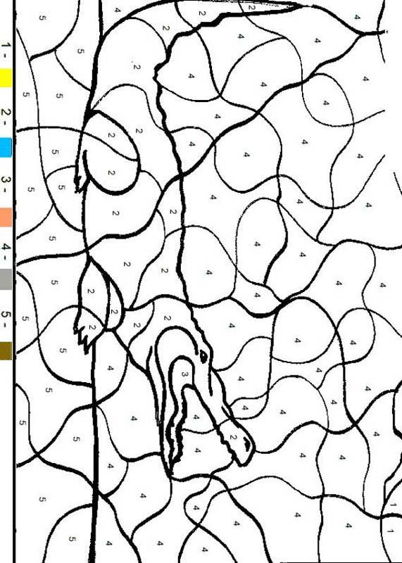 animal color by number coloring pages crocodile