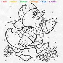 animal color by number coloring pages cat