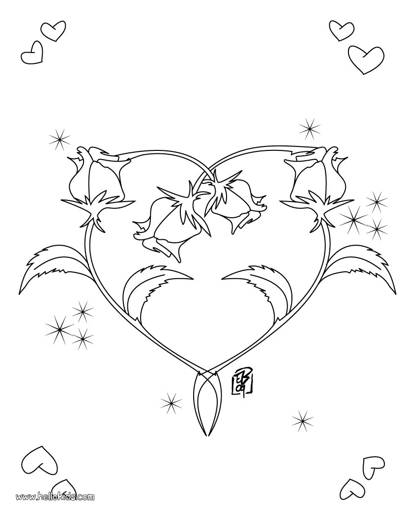 valentine 39 s day coloring pages roses heart shape