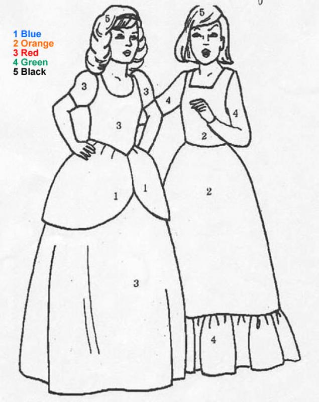 characters color by number coloring pages princess
