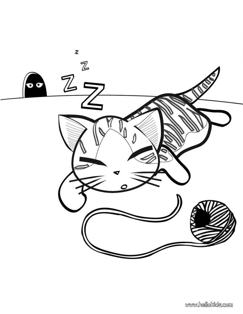 cat coloring pages cute kitten