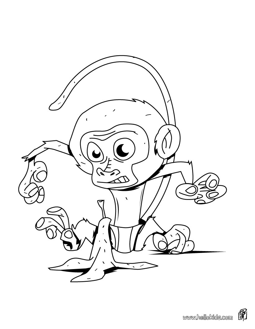 jungle animals coloring pages monkey