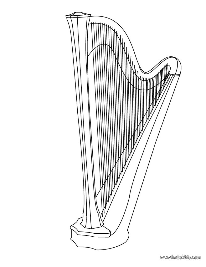 harp coloring pages - hellokids