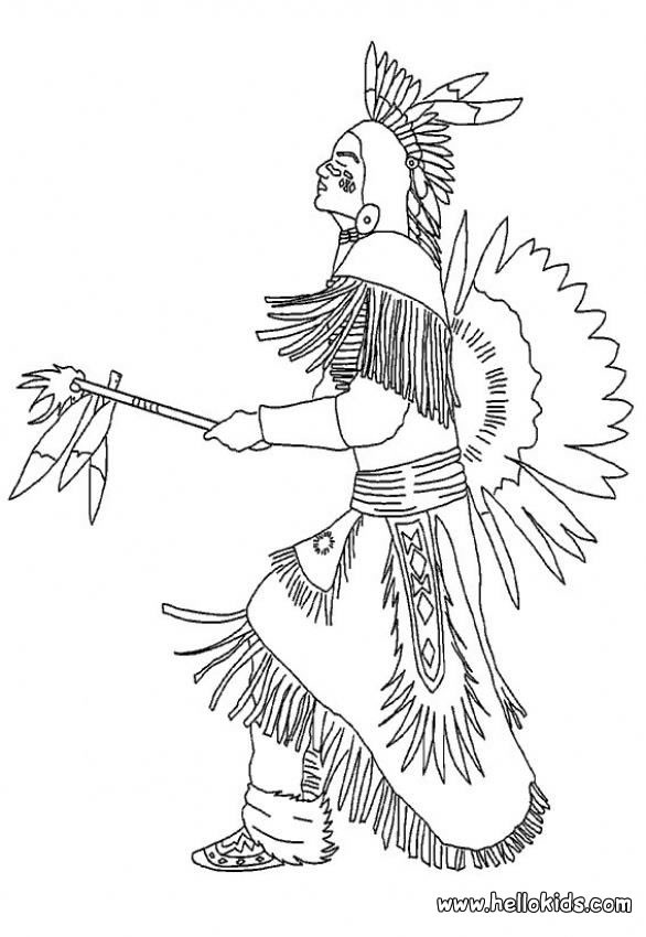 indian coloring pages indian chief