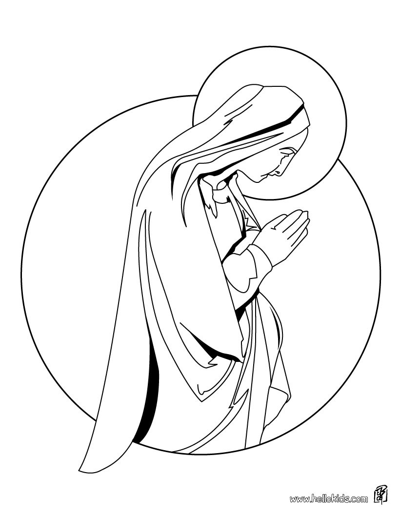 Jesus And Virgin Mary Coloring Pages Hellokids