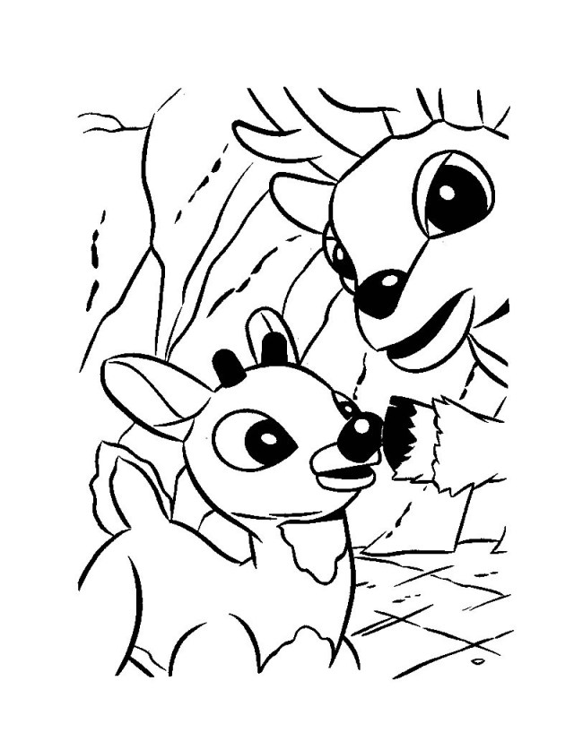 Rudolph and his dad donner coloring pages - Hellokids.com