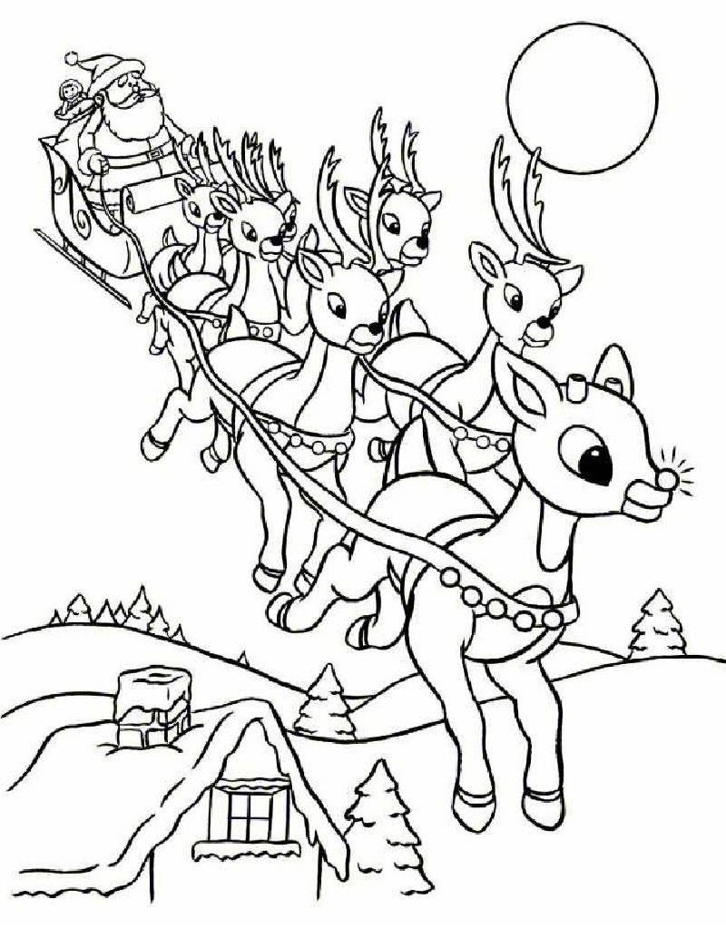 santa 39 s reindeer coloring pages rudolph and santa sleigh
