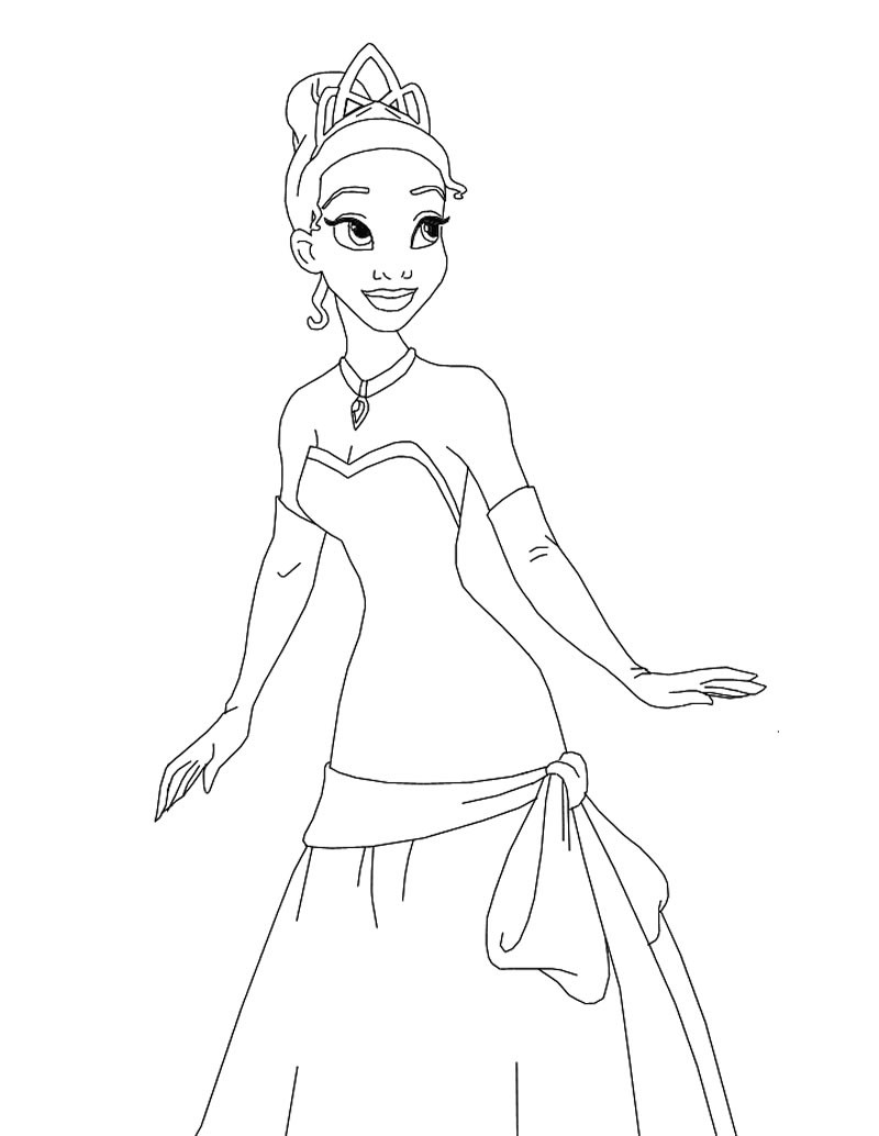 tiana the princess coloring page princess and the frog coloring