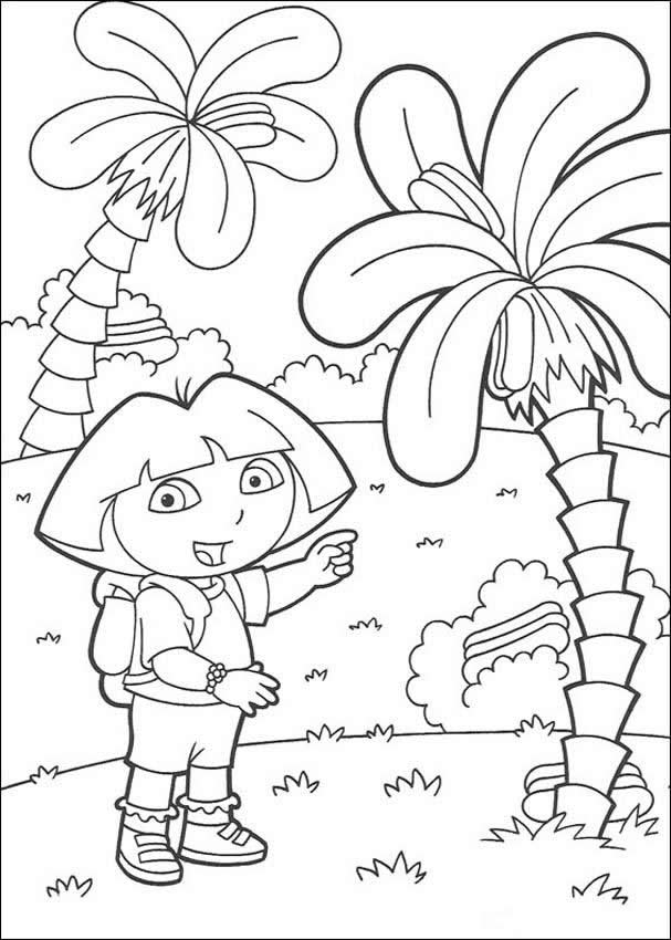 dora the explorer coloring pages dora with palm trees