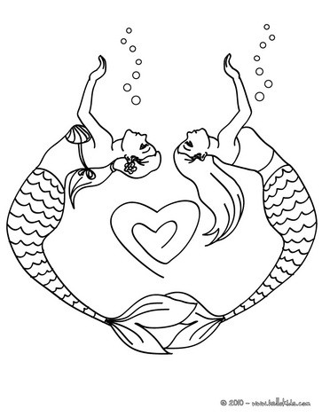 mermaid coloring pages mermaid couple drawing a heart