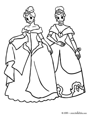 princesses dresses coloring pages 2 princesses with crown
