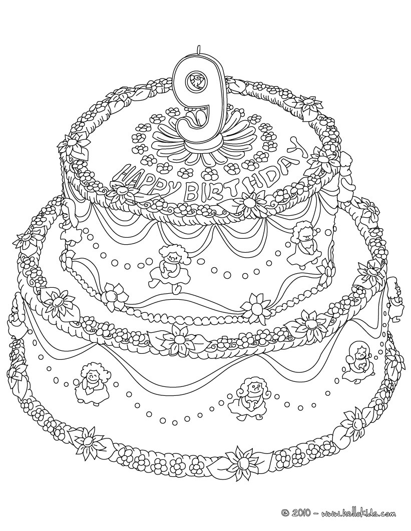 Birthday Cake 10 Years Coloring Pages Hellokids