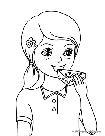 girl s birthday party coloring pages girl with a birthday cake