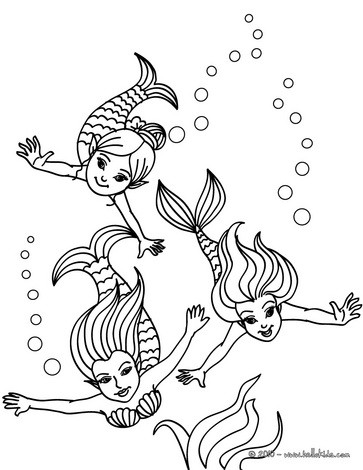 mermaid coloring pages group of young mermaids swimming