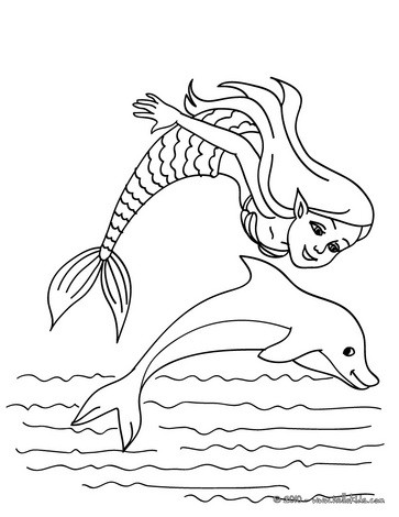mermaid coloring pages mermaid with a dolphin