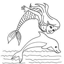 Mermaid With A Dolphin Coloring Pages