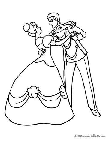 princess coloring pages prince and princess dancing