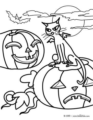 black cats coloring pages winged black cat amp pumpkins