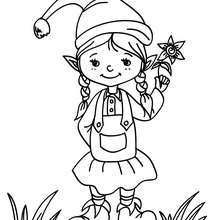 Christmas Girl Elf Coloring Pages Hellokids Com