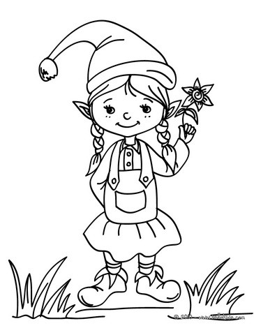 santa 39 s helpers coloring pages christmas girl elf