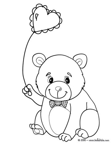 cute love bear coloring page