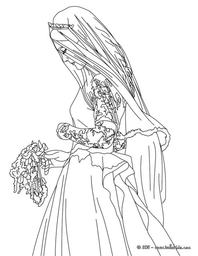 Bride kate middleton coloring pages - Hellokids.com