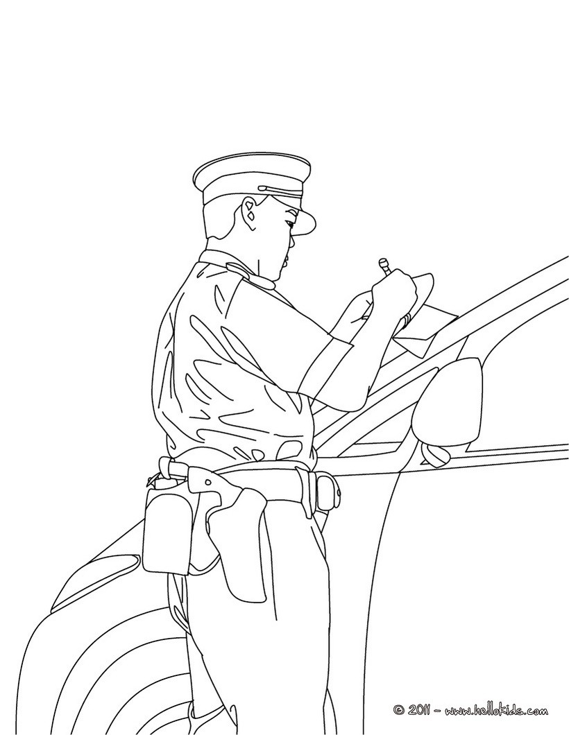 policeman coloring pages police officer car control