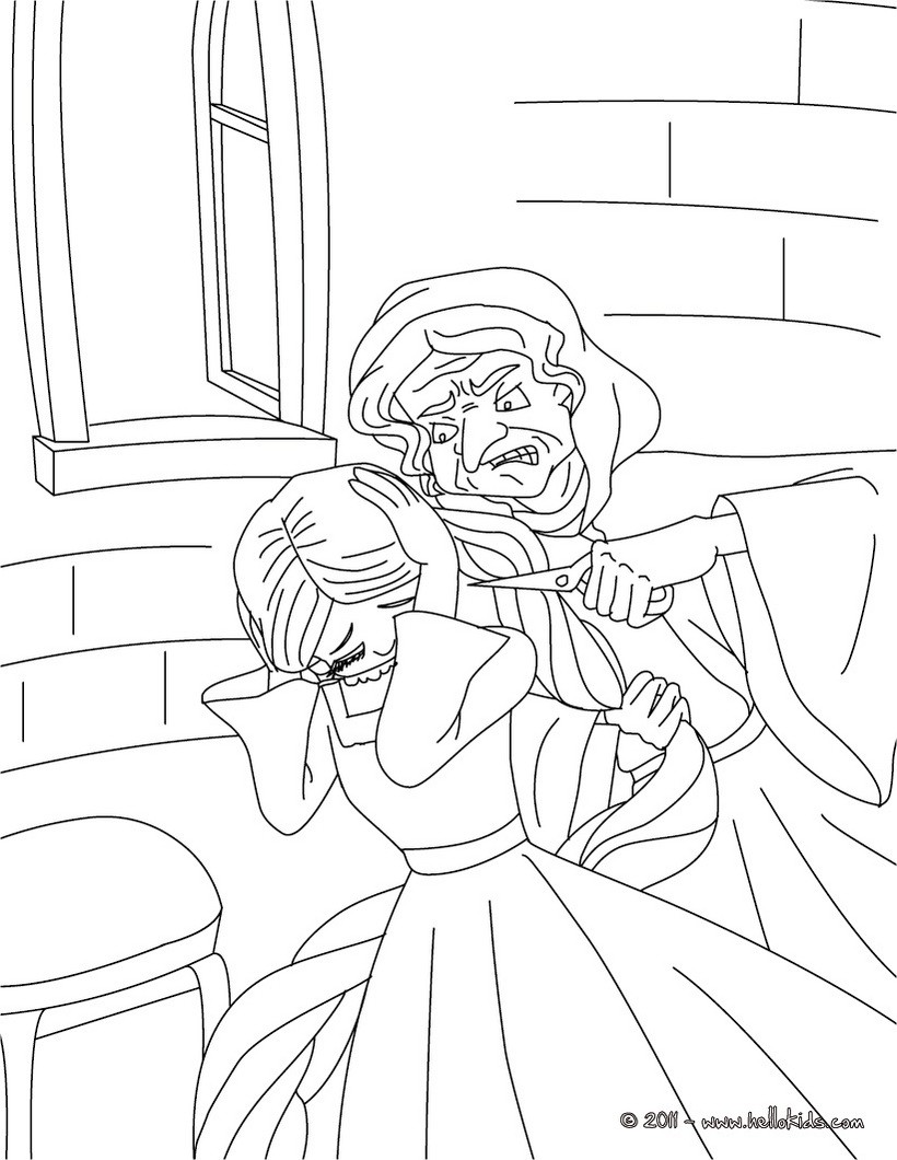 rapunzel and gothel coloring pages  hellokids