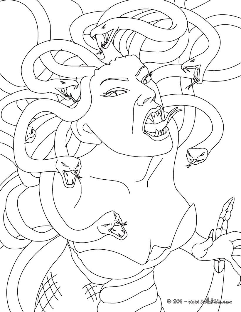and monsters medusa the gorgon with snake hair