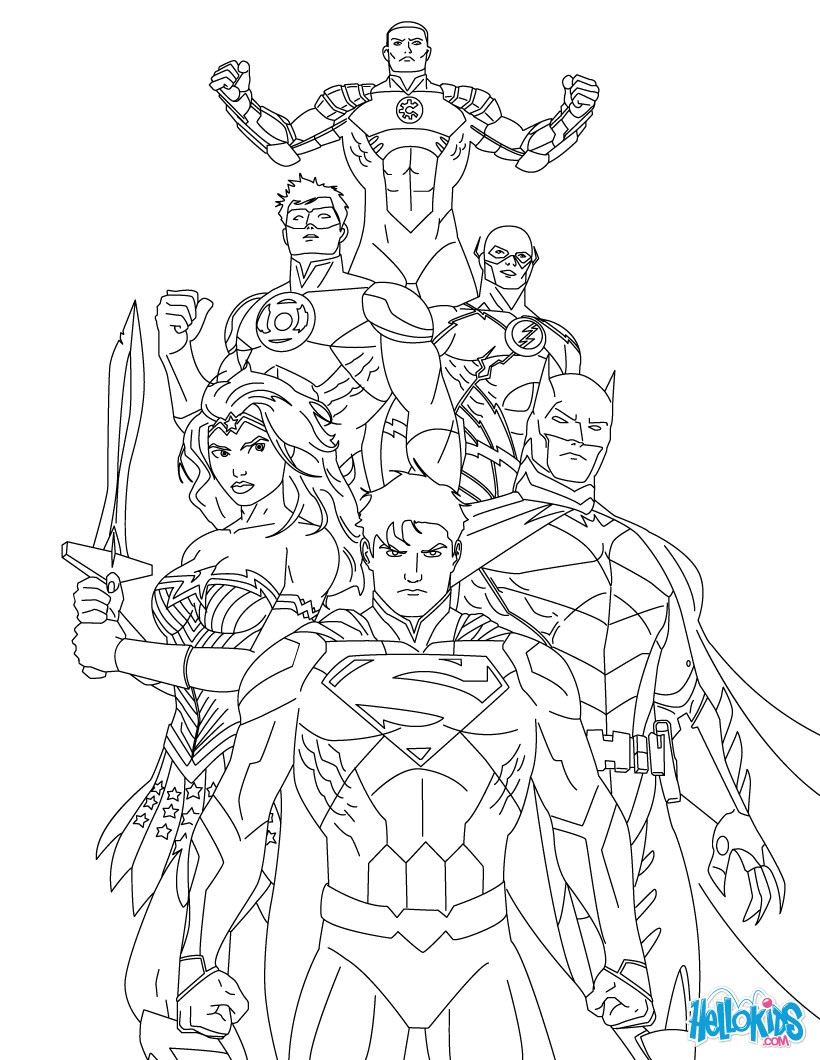 superman coloring pages justice league of america