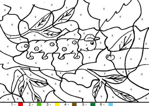 animal color by number coloring pages caterpillar