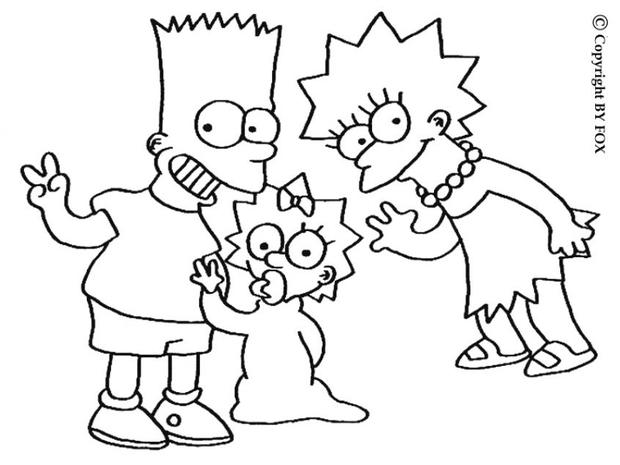 the simpsons coloring pages lisa maggie and bart simpsons