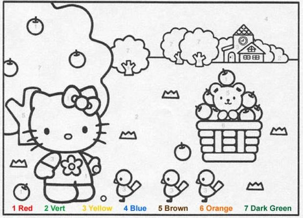 characters color by number coloring pages hellokitty